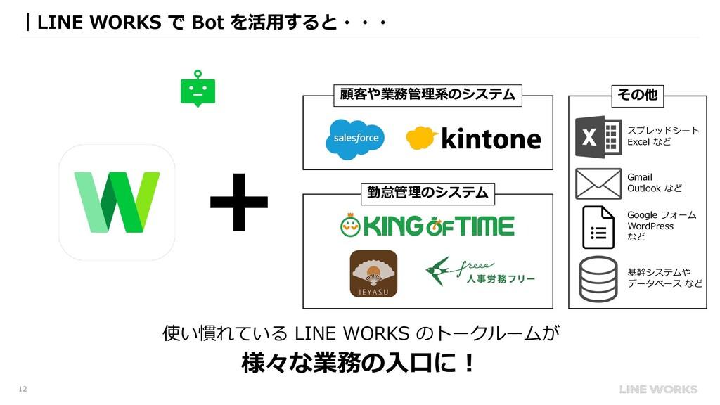12 |LINE WORKS で Bot を活⽤すると・・・ 顧客や業務管理系のシステム 勤怠...