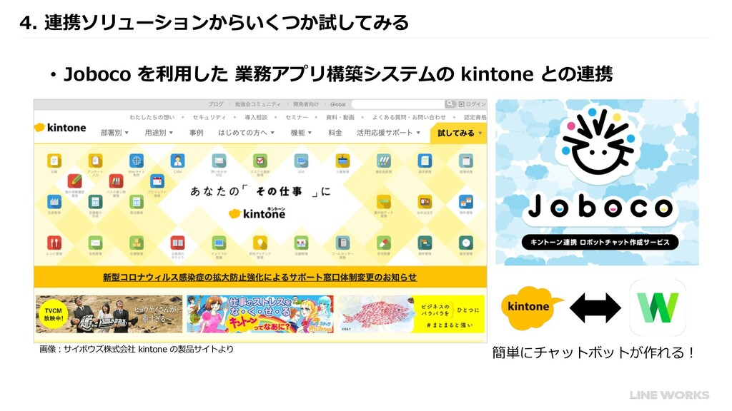 4. 連携ソリューションからいくつか試してみる • Joboco を利⽤した 業務アプリ構築シ...