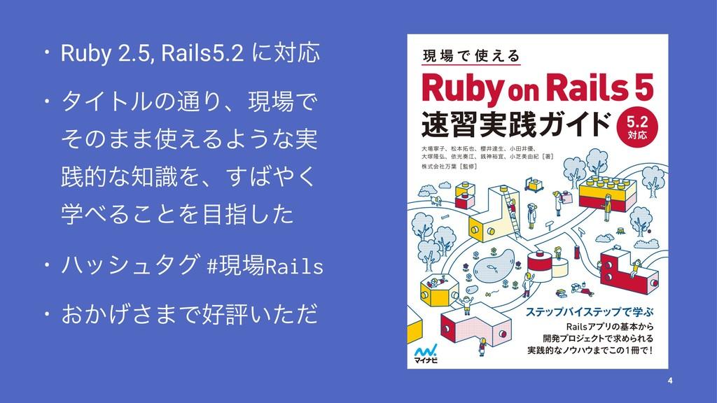 • Ruby 2.5, Rails5.2 ʹରԠ • λΠτϧͷ௨ΓɺݱͰ ͦͷ··͑ΔΑ...