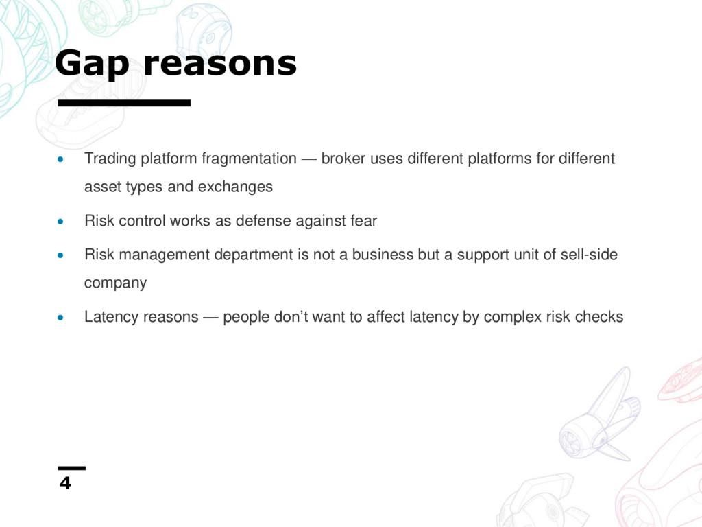 Gap reasons 4  Trading platform fragmentation ...