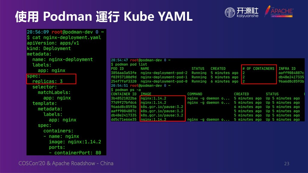 COSCon'20 & Apache Roadshow - China 使用 Podman 運...