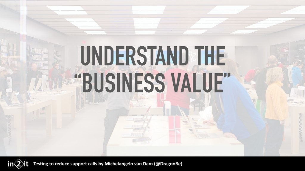 """UNDERSTAND THE """"BUSINESS VALUE"""" Tes$ng to reduc..."""