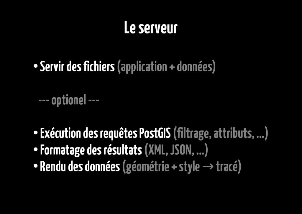 Le serveur ● Servir des fichiers (application +...