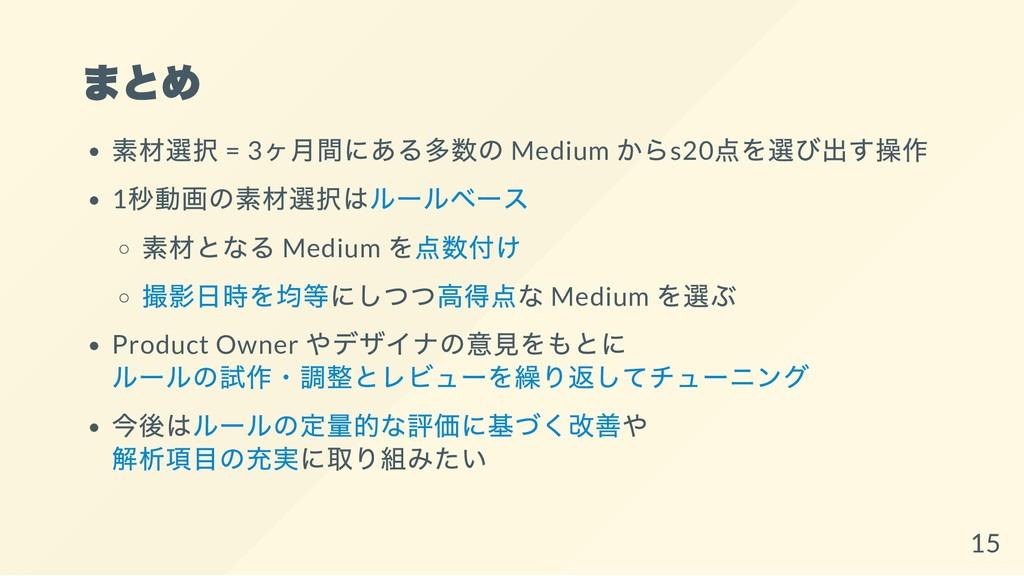 まとめ 素材選択 = 3 ヶ月間にある多数の Medium からs20 点を選び出す操作 1 ...