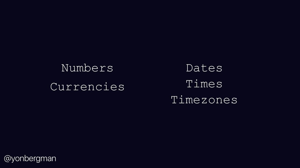 @yonbergman Dates Times Timezones Numbers Curre...