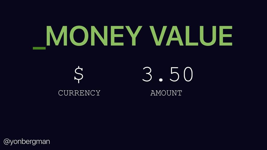 @yonbergman _MONEY VALUE $ 3.50 CURRENCY AMOUNT