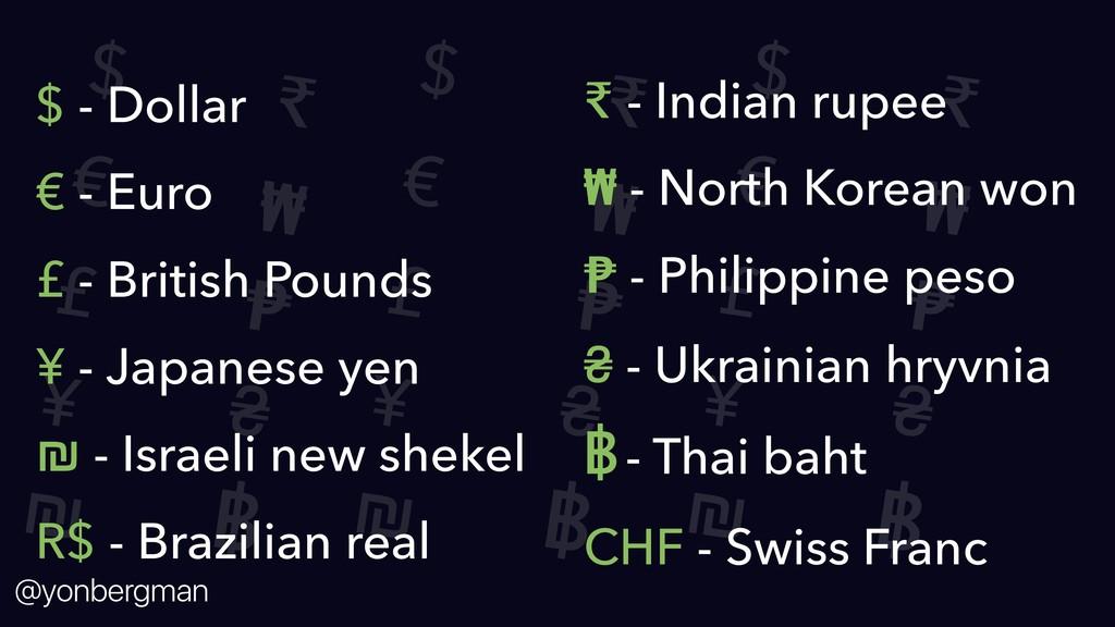 @yonbergman $ € £ ¥ ₪ ₹ ₩ ₱ ₴ ฿ $ € £ ¥ ₪ ₹ ₩ ₱...