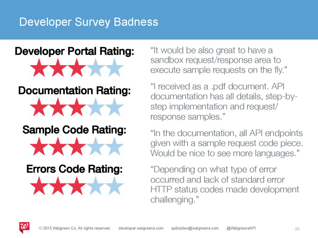 Developer Survey Badness 23 Developer Portal Ra...