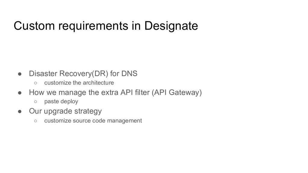 Custom requirements in Designate ● Disaster Rec...