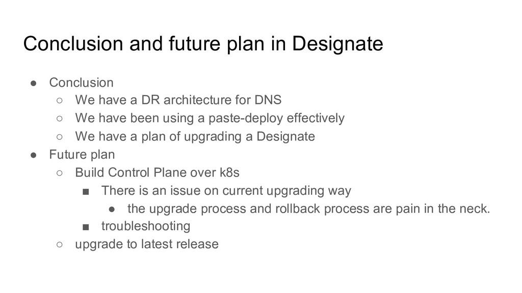 Conclusion and future plan in Designate ● Concl...