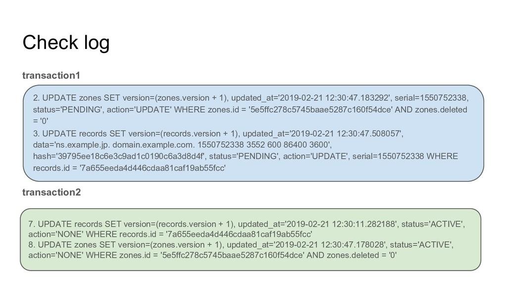 Check log transaction1 transaction2 2. UPDATE z...