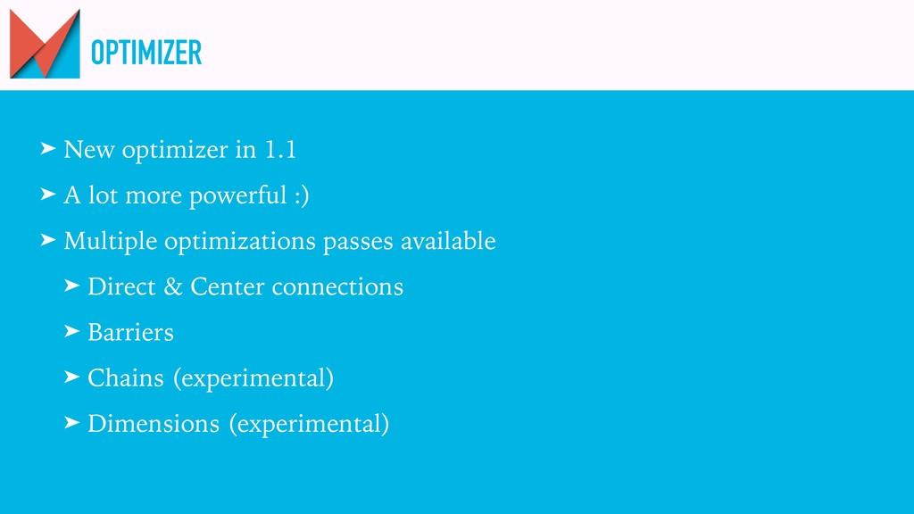 OPTIMIZER ➤ New optimizer in 1.1 ➤ A lot more p...