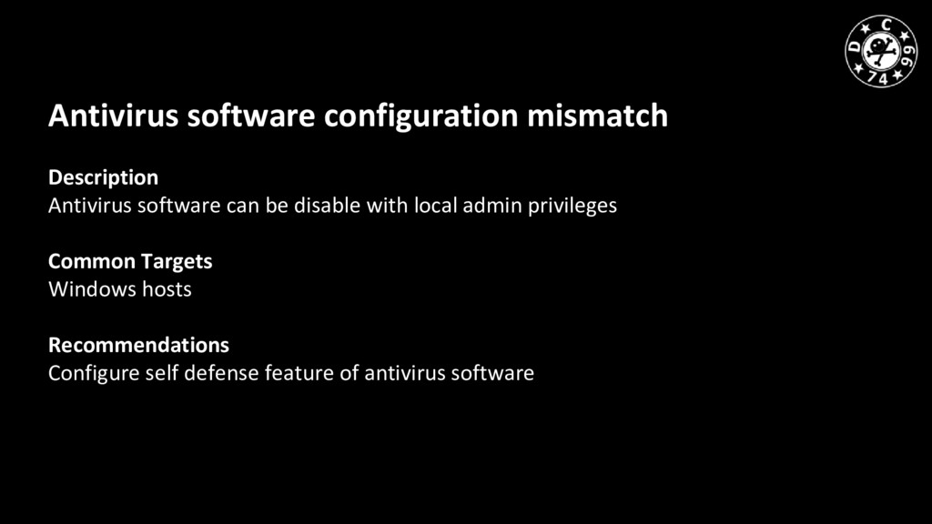 Antivirus software configuration mismatch Descr...