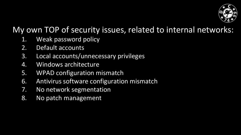 My own TOP of security issues, related to inter...