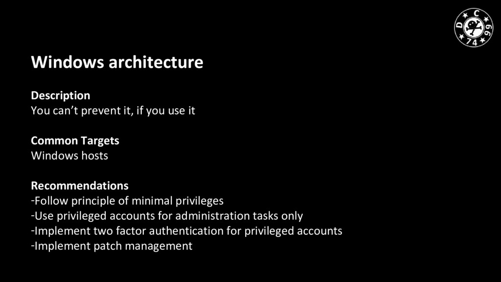 Windows architecture Description You can't prev...