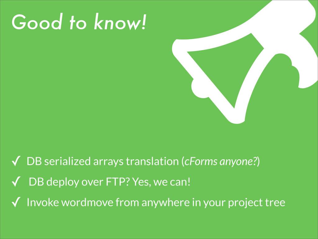 Good to know! ✓ DB serialized arrays translatio...