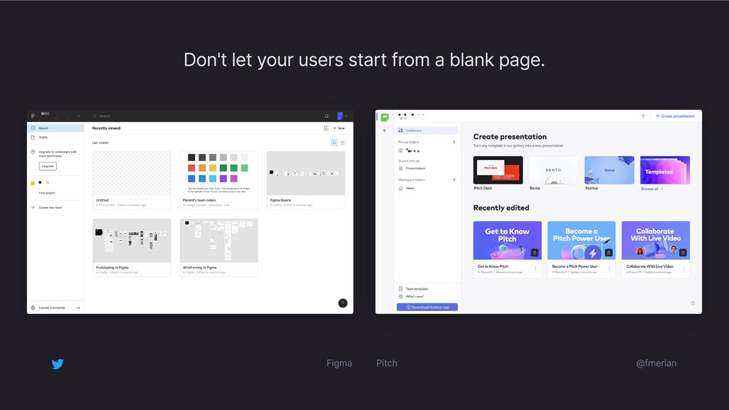 Don't let your users start from a blank page. F...