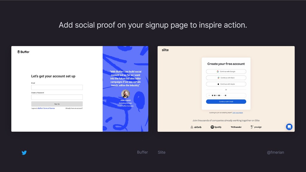 @fmerian Add social proof on your signup page t...
