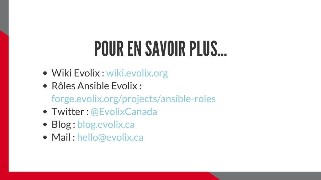 POUR EN SAVOIR PLUS... Wiki Evolix : Rôles Ansi...
