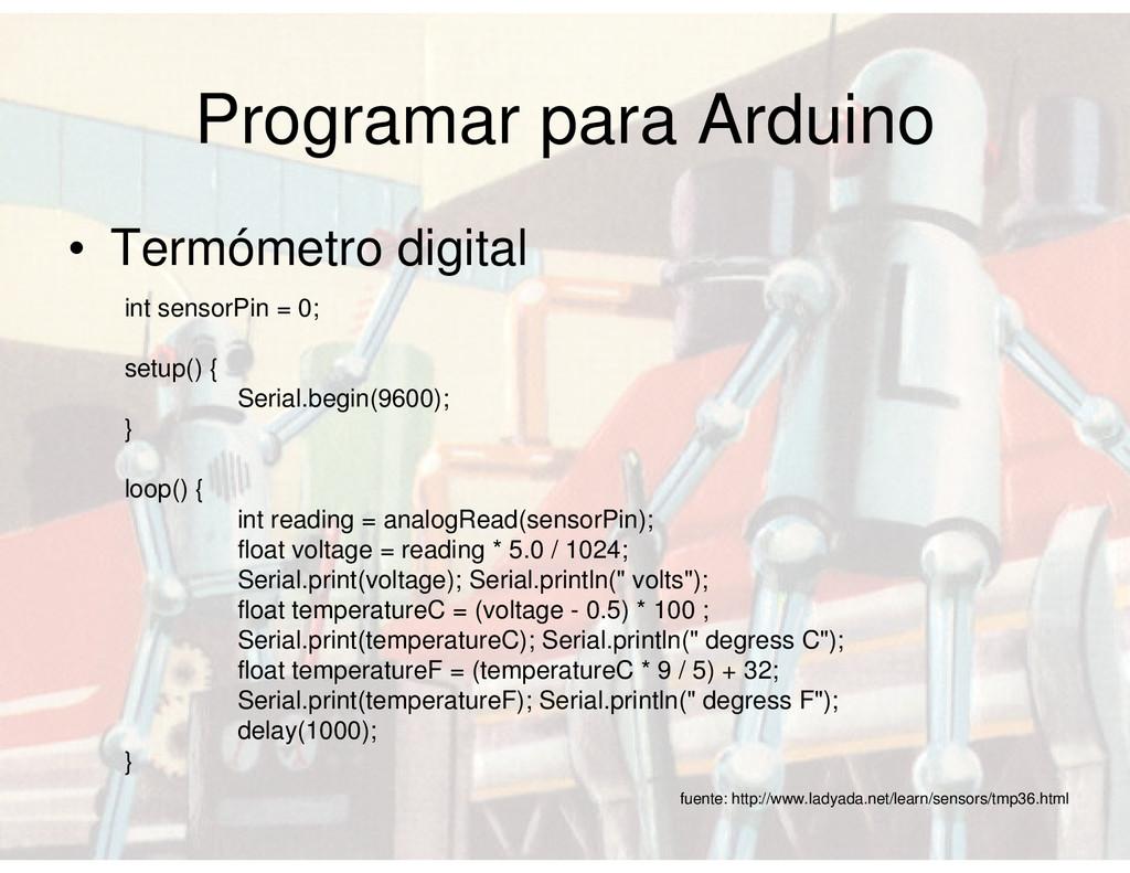 Programar para Arduino • Termómetro digital fue...