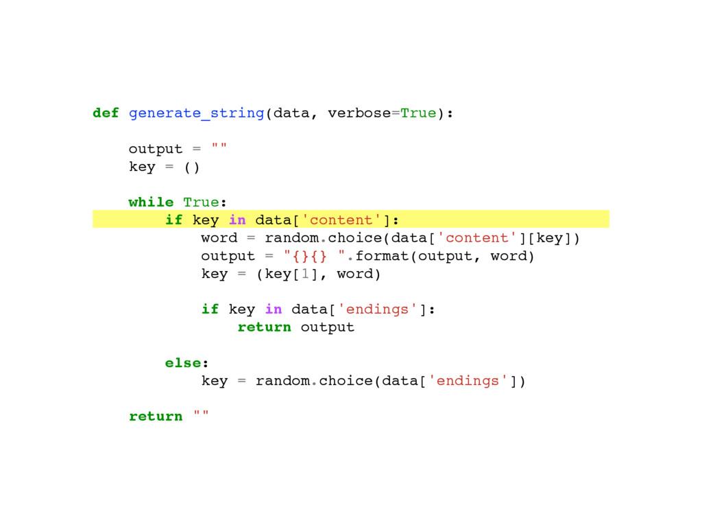 "def generate_string(data, verbose=True): """"""Gen..."