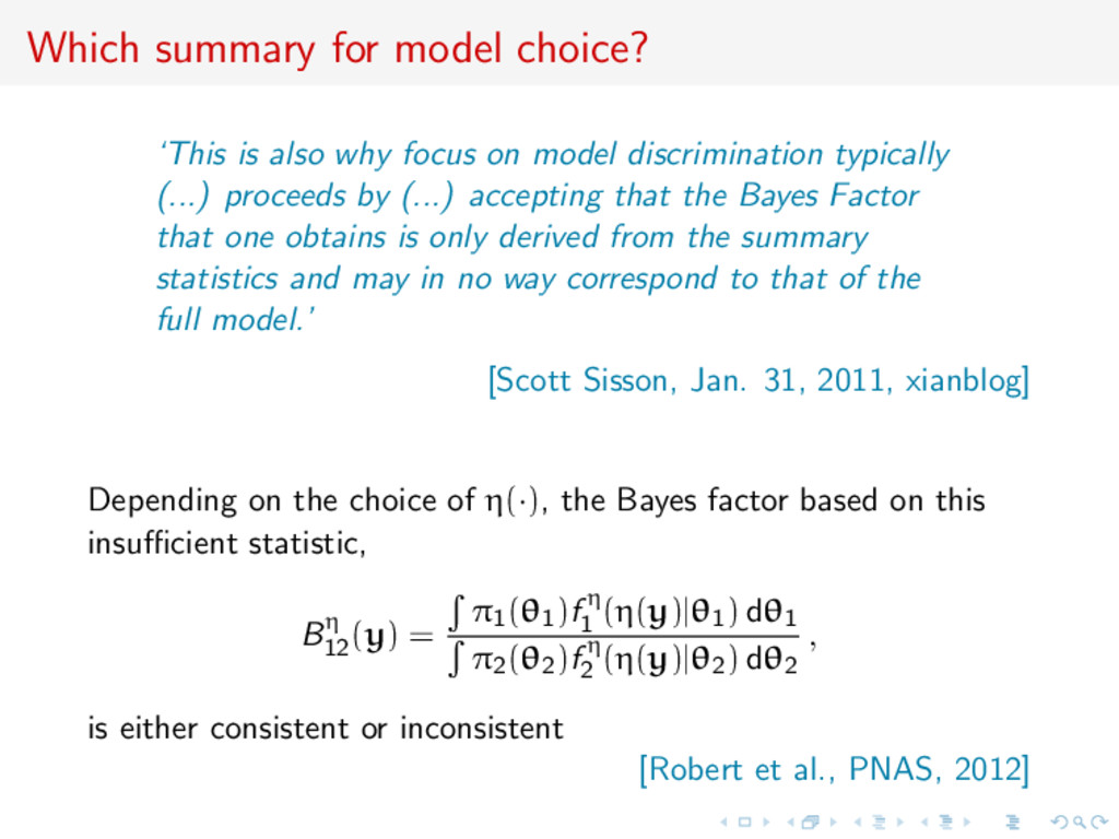 Which summary for model choice? 'This is also w...