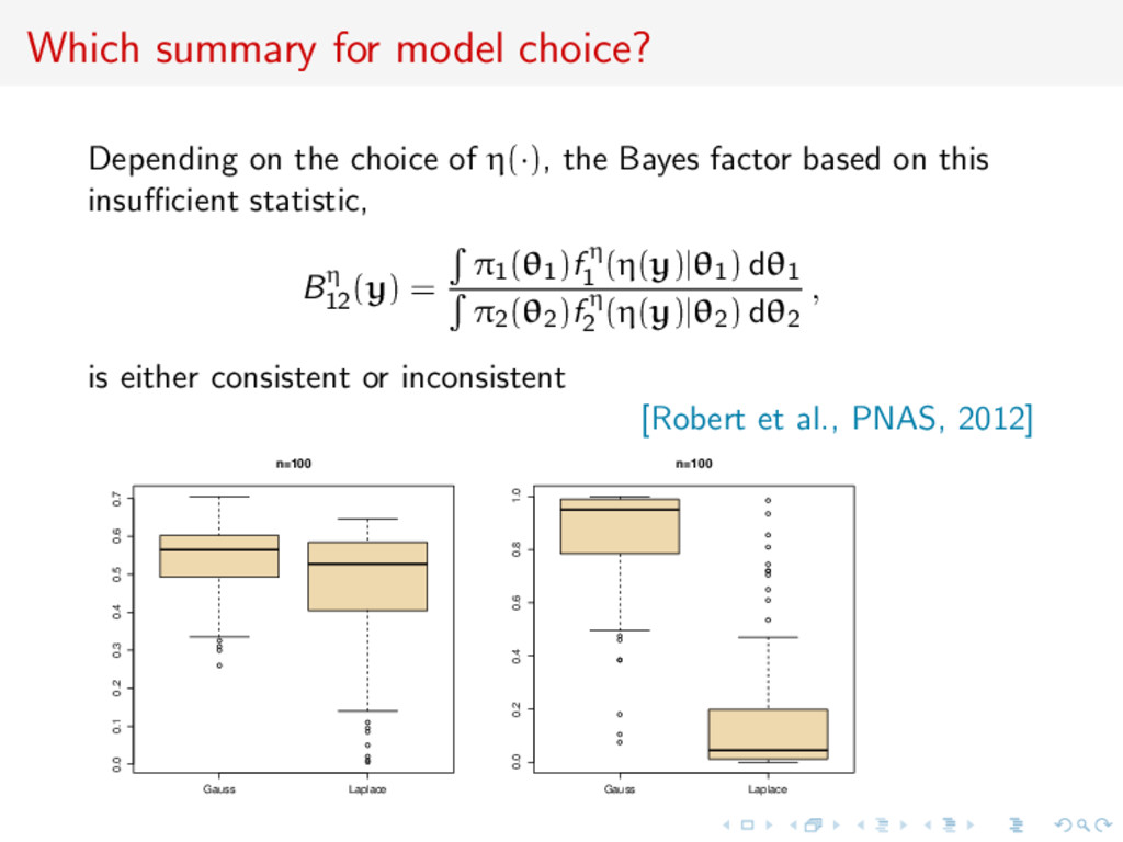 Which summary for model choice? Depending on th...