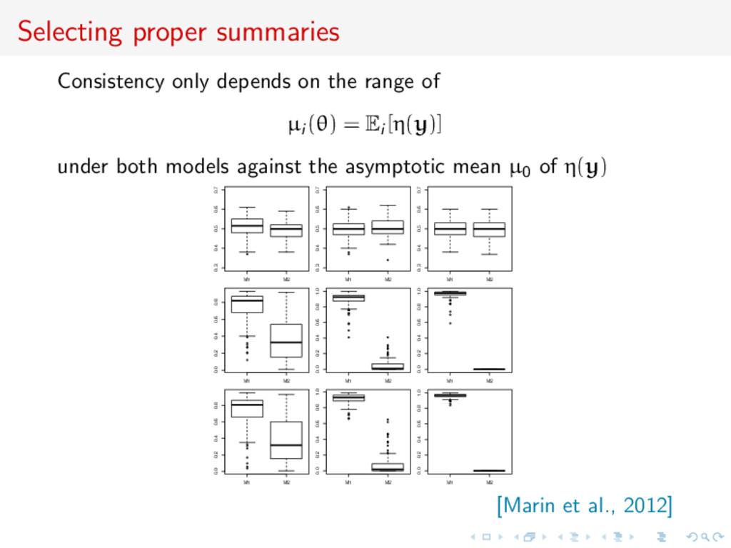 Selecting proper summaries Consistency only dep...