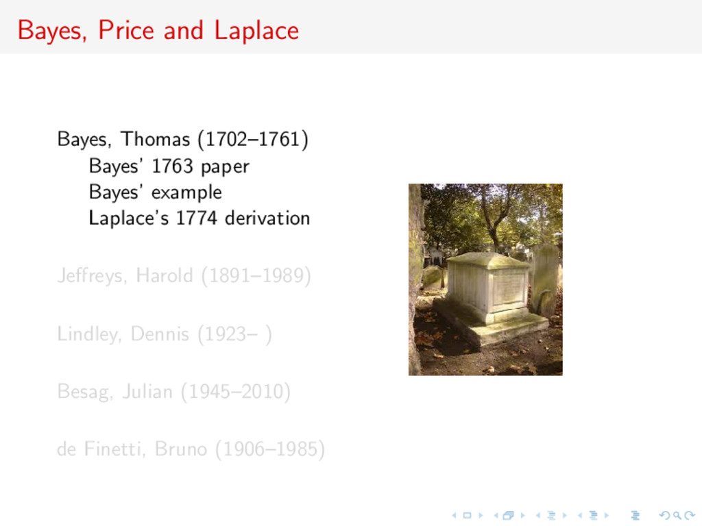Bayes, Price and Laplace Bayes, Thomas (1702–17...