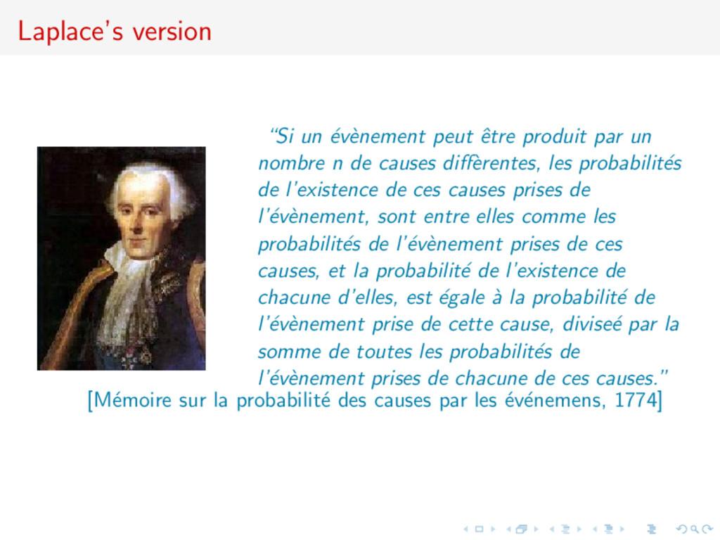 """Laplace's version """"Si un ´ ev` enement peut ˆ e..."""