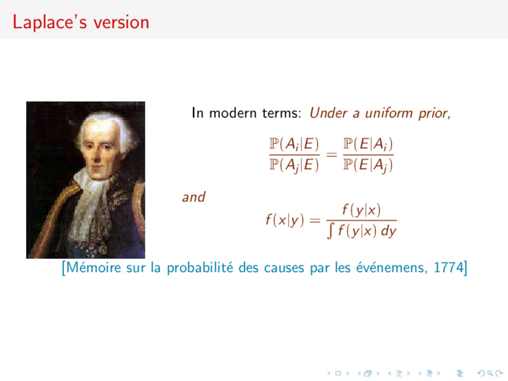 Laplace's version In modern terms: Under a unif...
