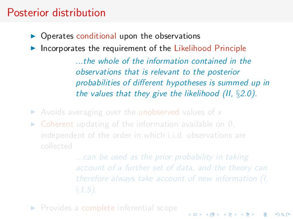 Posterior distribution Operates conditional upo...