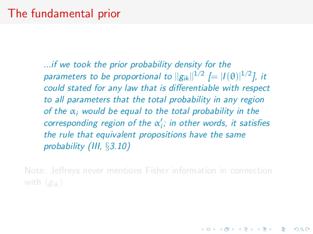 The fundamental prior ...if we took the prior p...