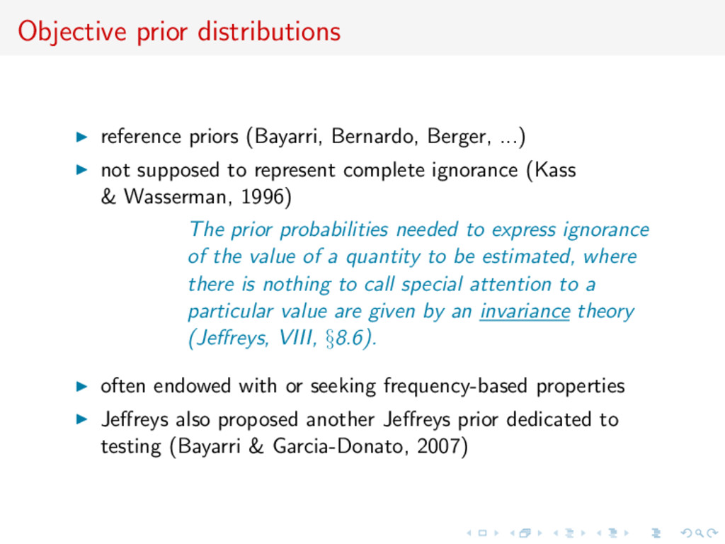 Objective prior distributions reference priors ...
