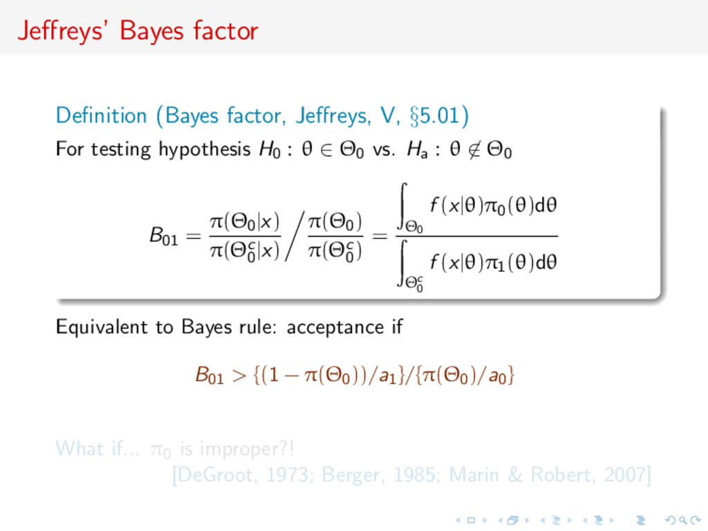 Jeffreys' Bayes factor Definition (Bayes factor, ...