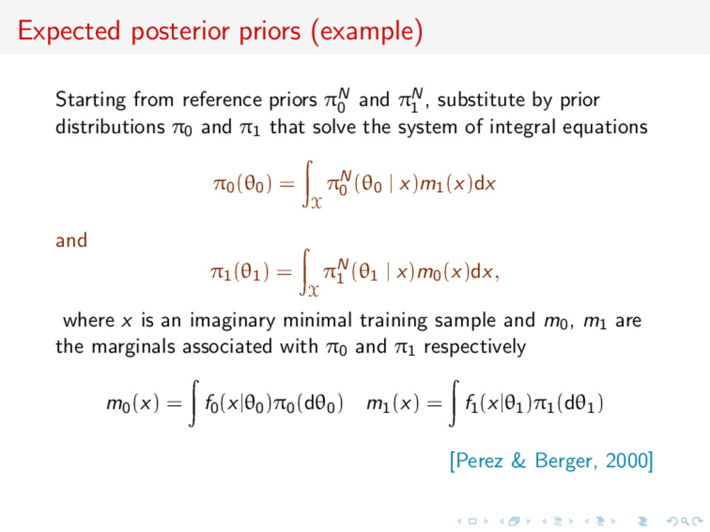 Expected posterior priors (example) Starting fr...
