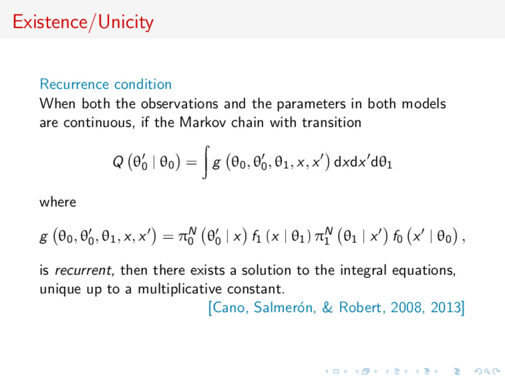Existence/Unicity Recurrence condition When bot...
