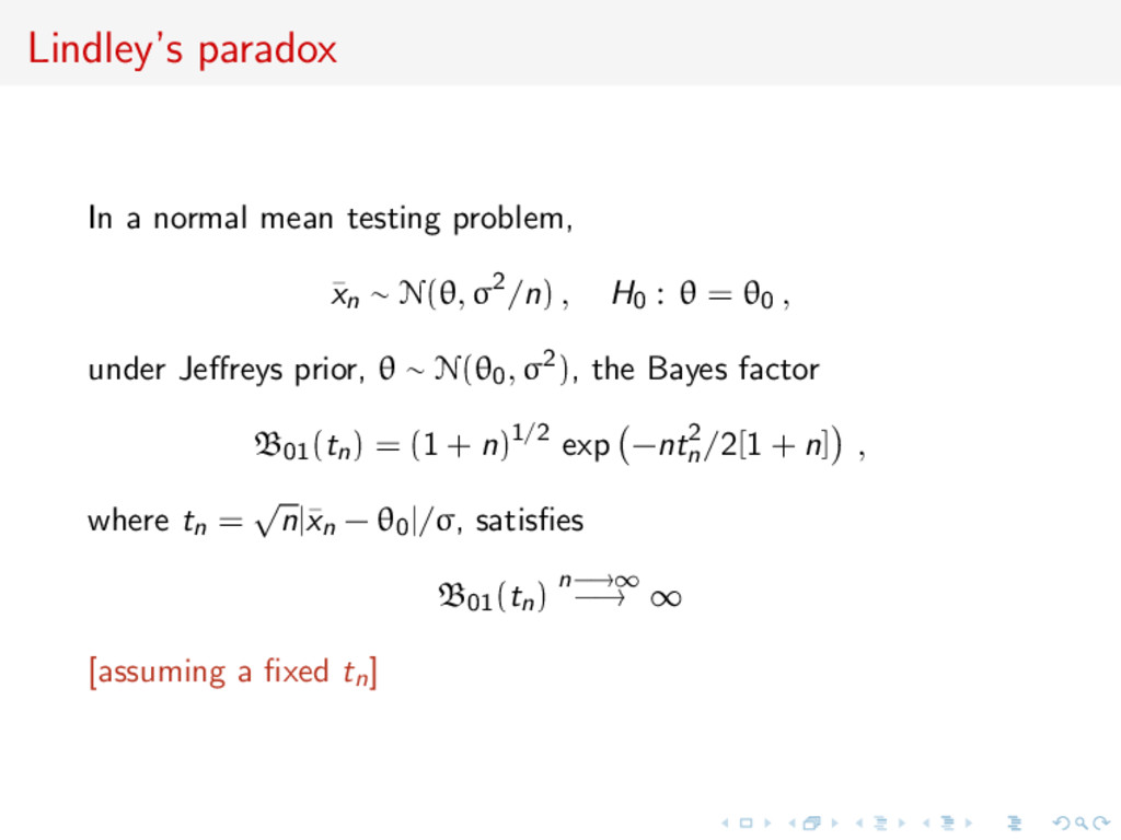 Lindley's paradox In a normal mean testing prob...