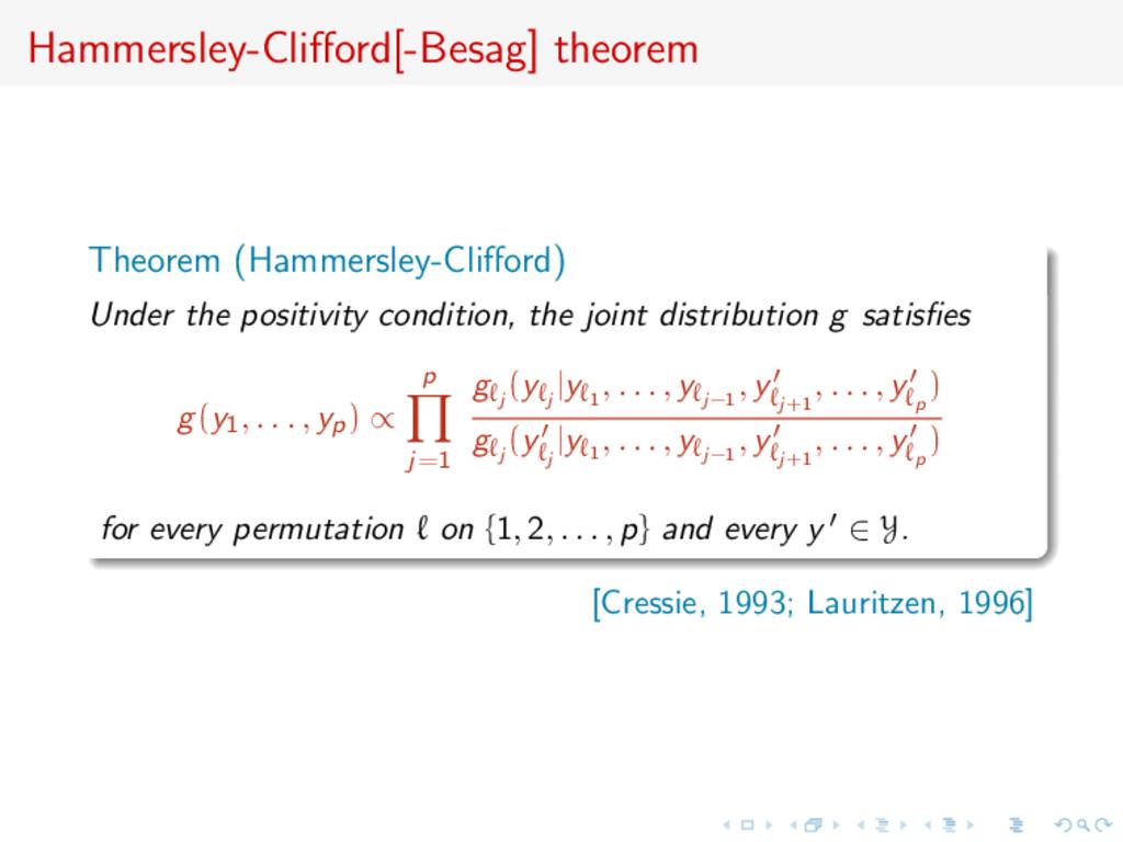 Hammersley-Clifford[-Besag] theorem Theorem (Ham...