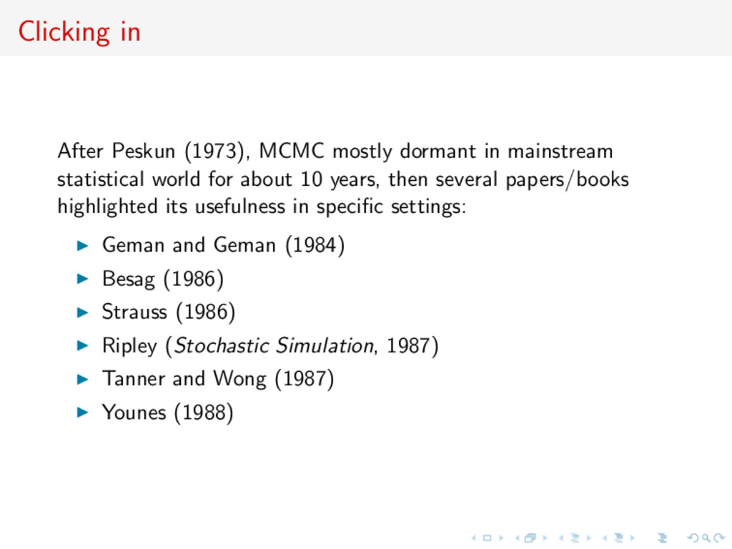 Clicking in After Peskun (1973), MCMC mostly do...