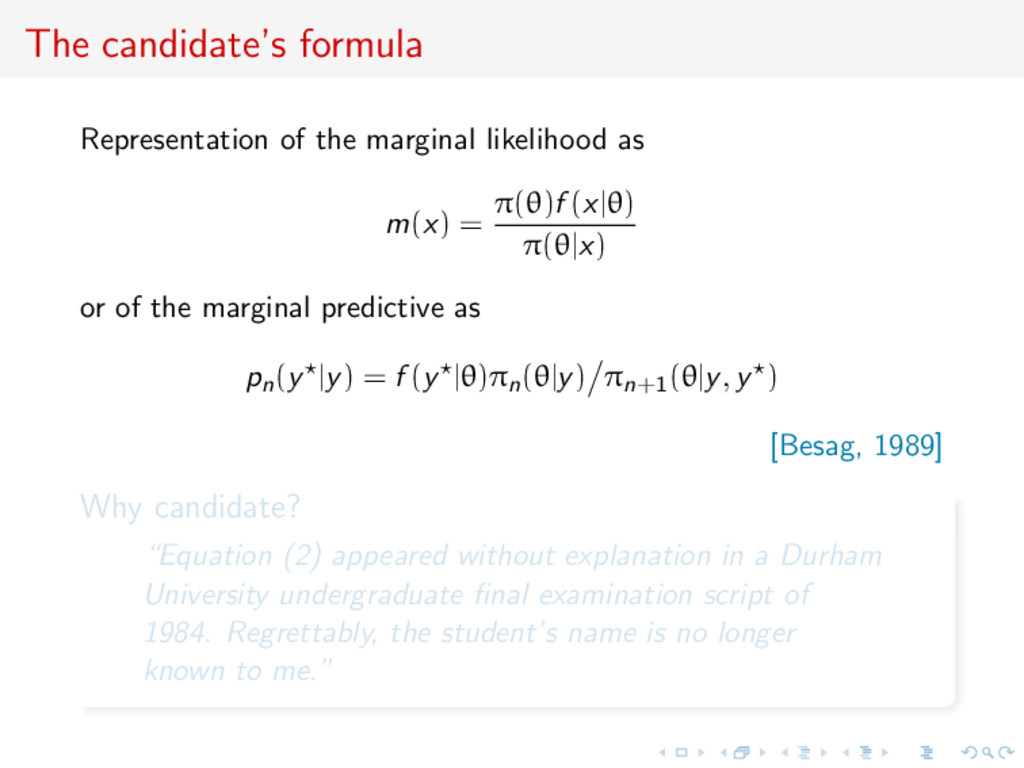 The candidate's formula Representation of the m...