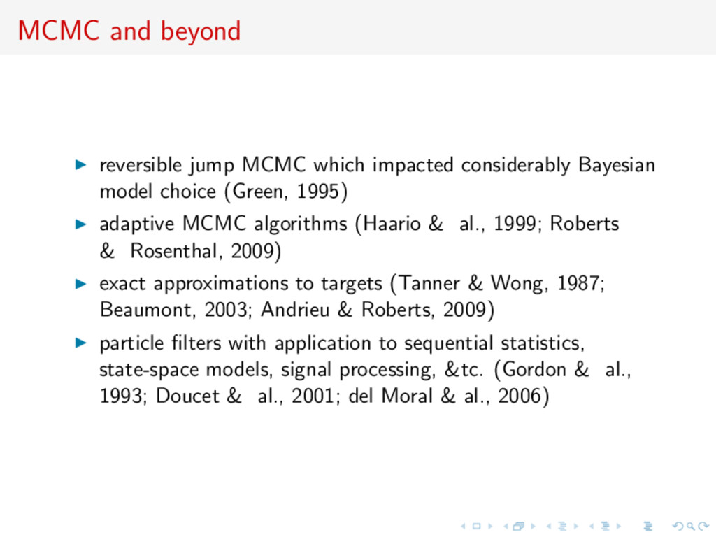MCMC and beyond reversible jump MCMC which impa...