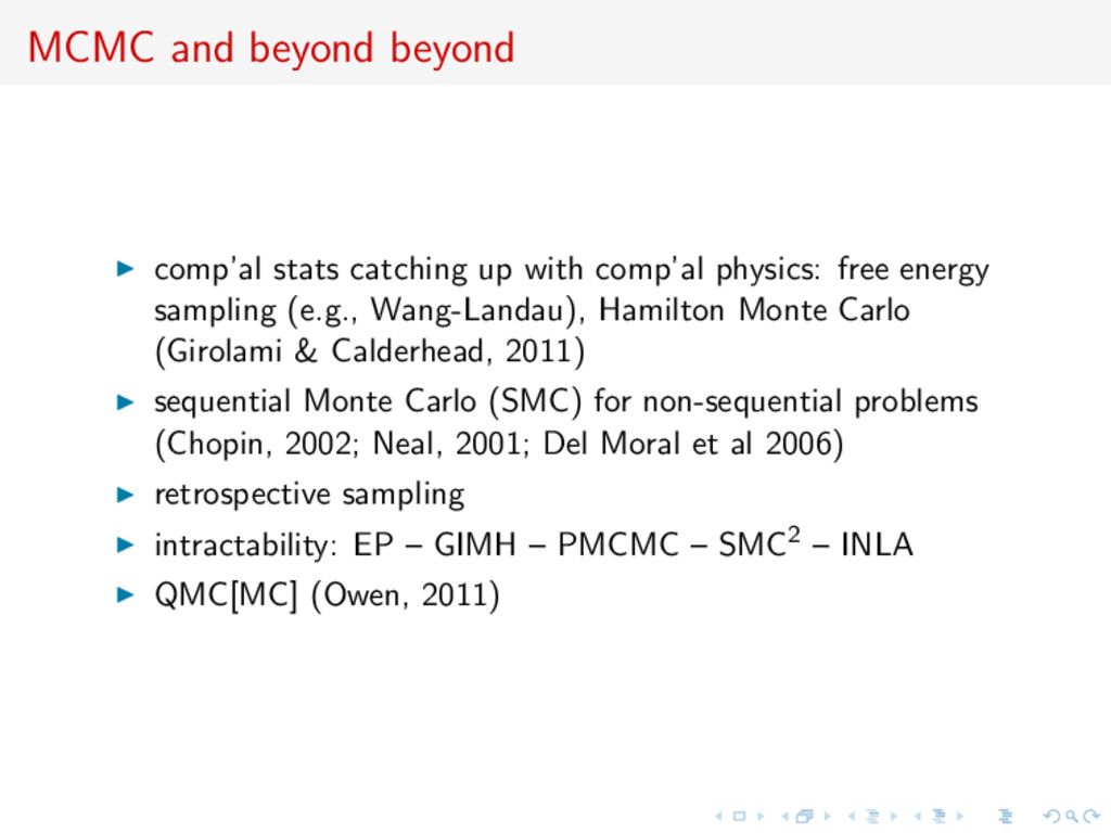 MCMC and beyond beyond comp'al stats catching u...