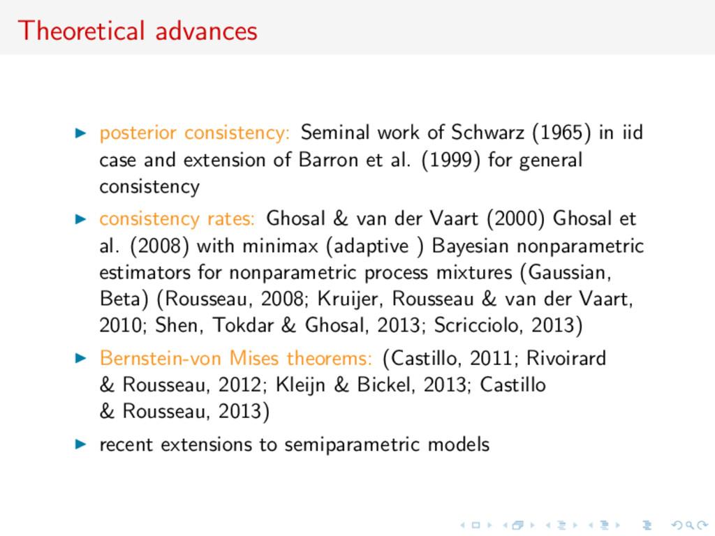 Theoretical advances posterior consistency: Sem...