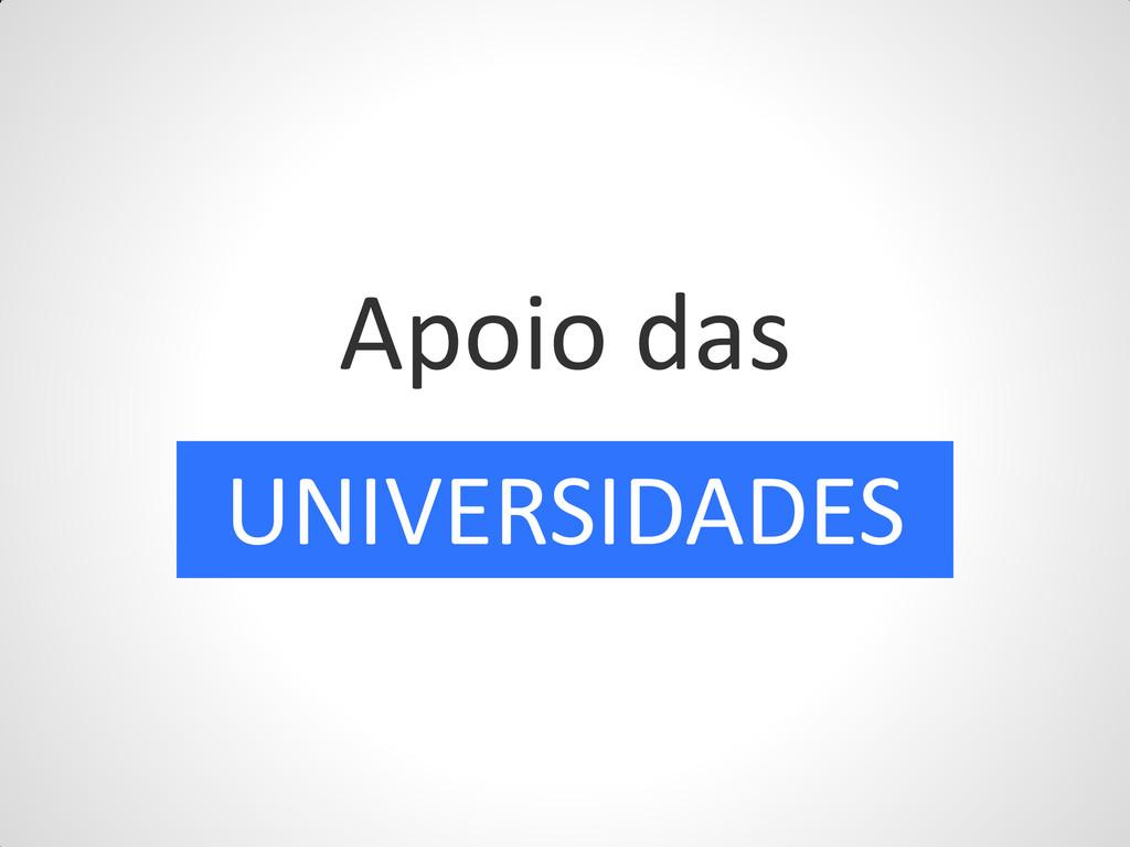 Apoio das UNIVERSIDADES