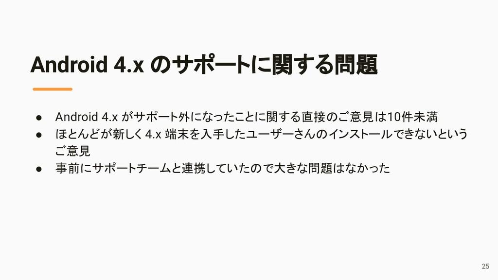 ● Android 4.x がサポート外になったことに関する直接のご意見は10件未満 ● ほと...