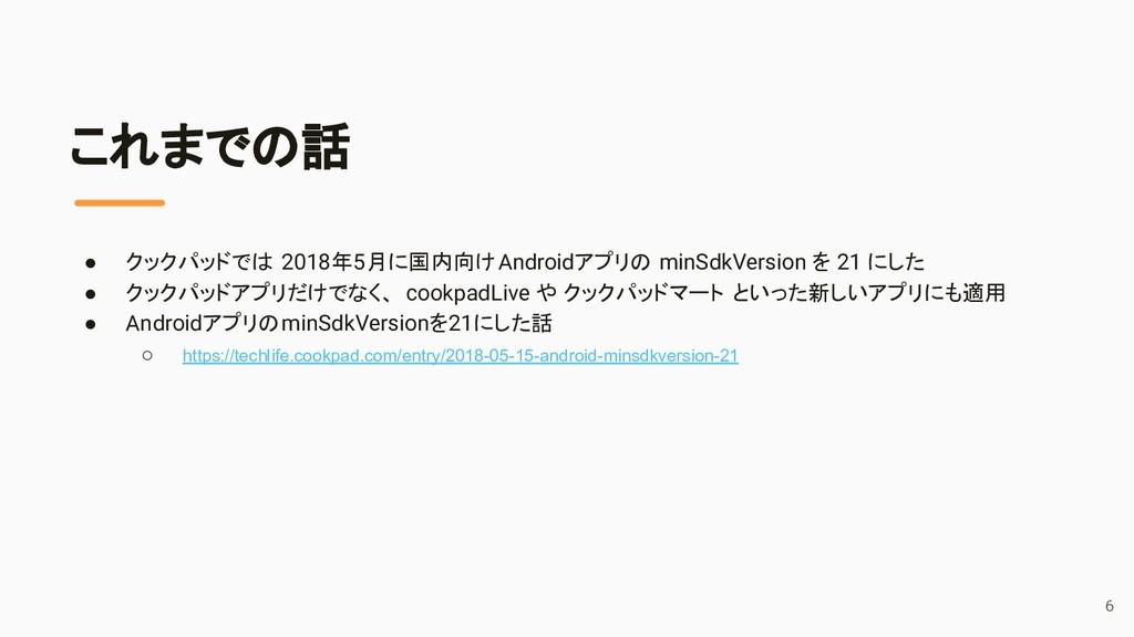 これまでの話 ● クックパッドでは 2018年5月に国内向けAndroidアプリの minSd...