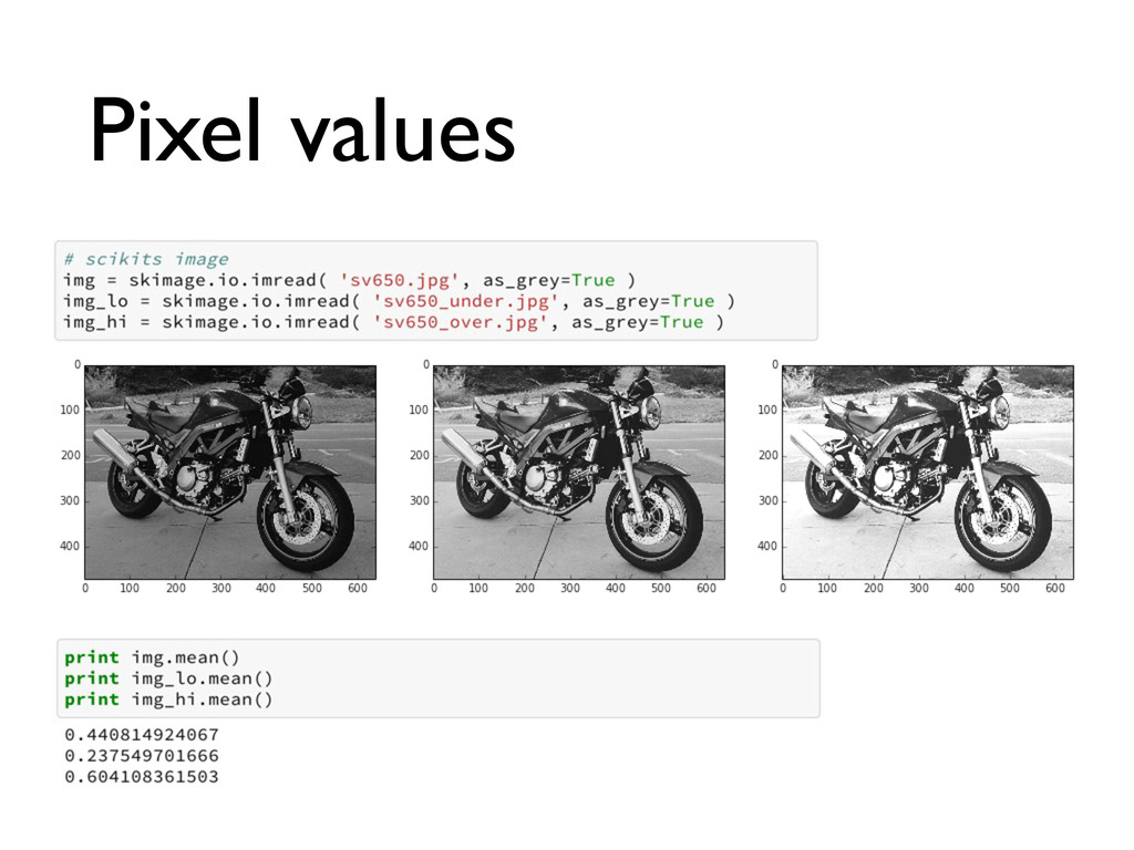 Pixel values