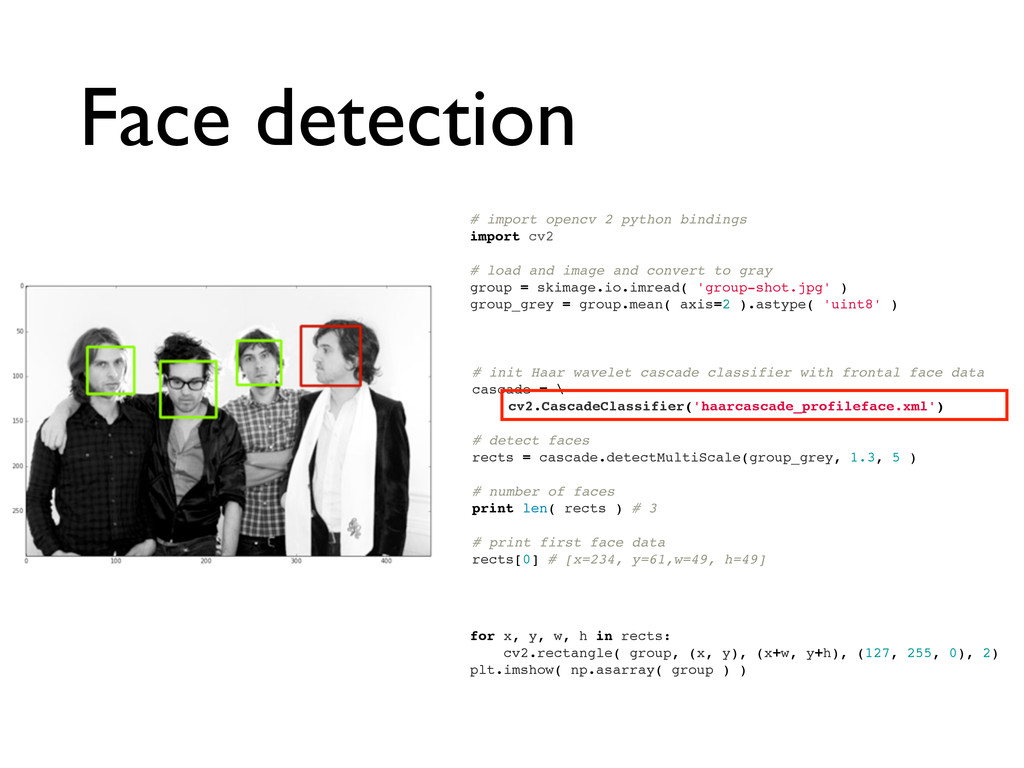 Face detection # import opencv 2 python binding...