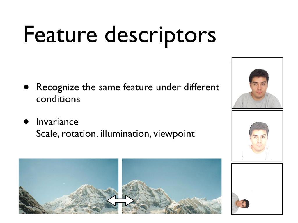 Feature descriptors • Recognize the same featur...